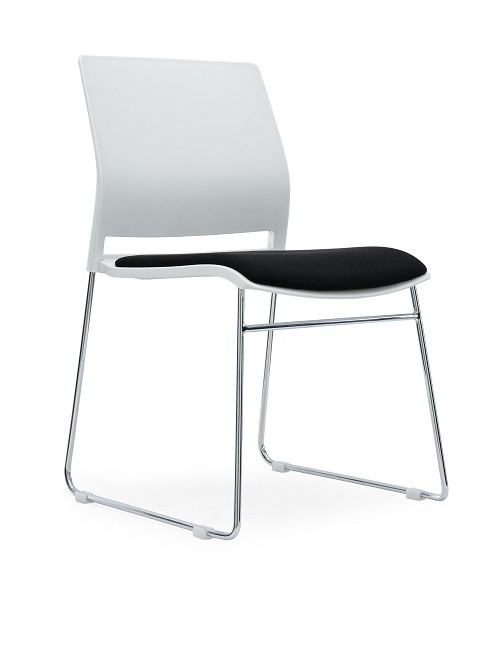 Verse Multipurpose Stacking Chair White Shell and Black Fabric Seat Pan
