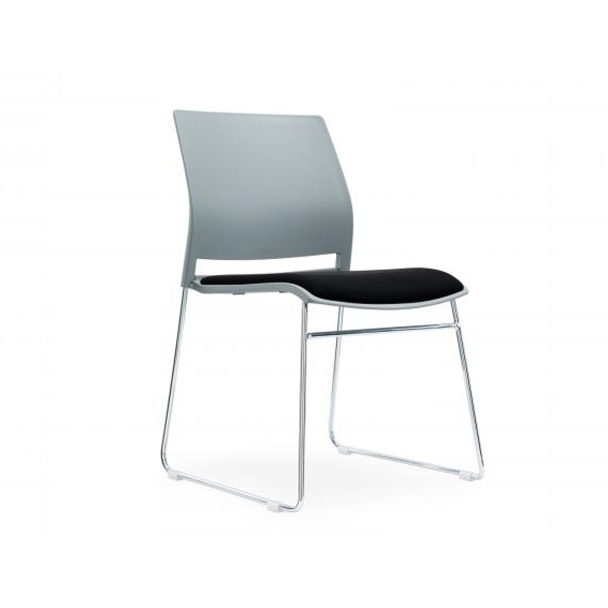 Verse Multiprurpose Stacking Chair Grey Shell and Black Fabric Seat Pan