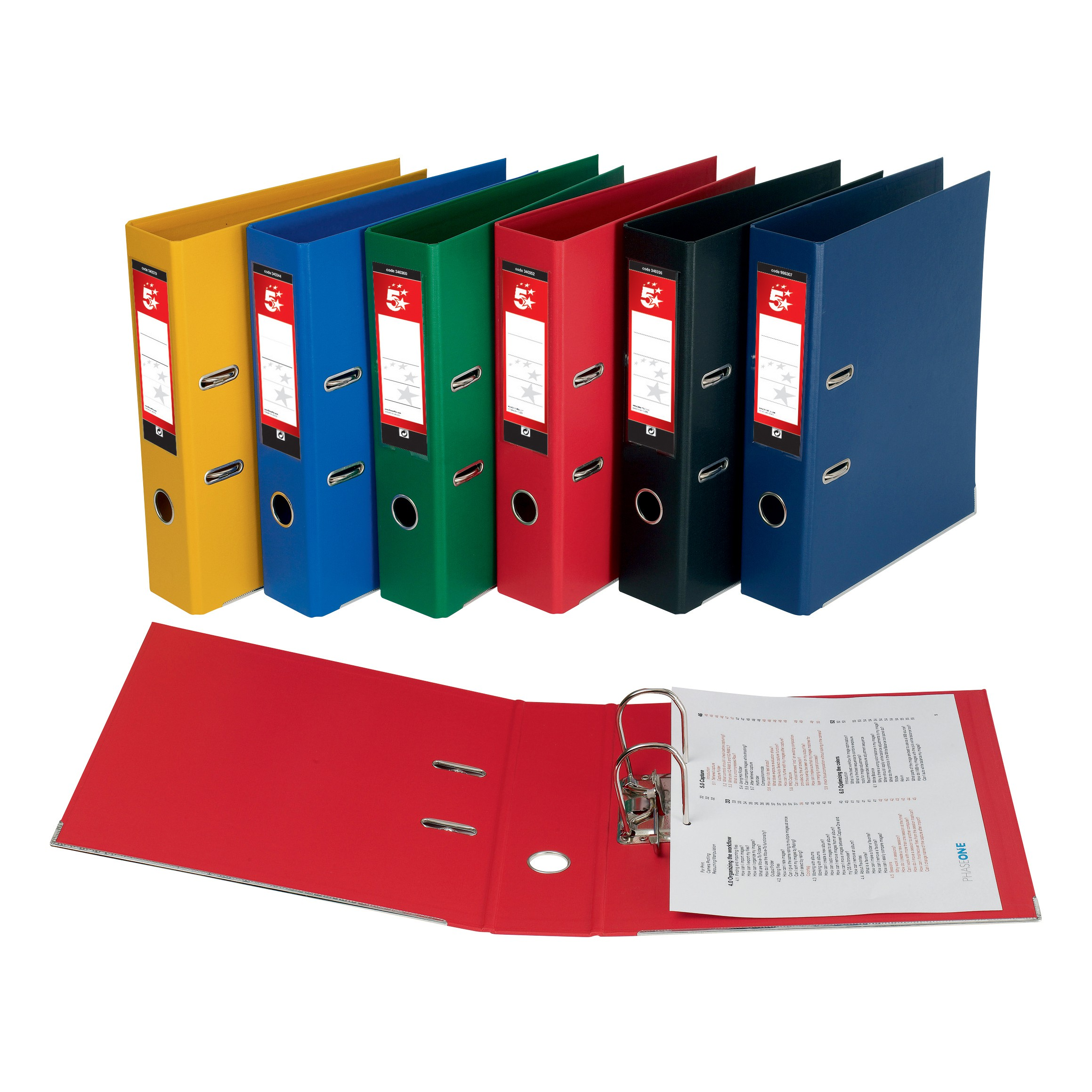 5 Star A4 PVC Assorted Lever Arch Files Box 10
