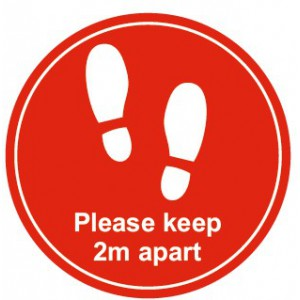 Image for 280mm - Non Slip Floor Sticker - Please Keep 2m Apart