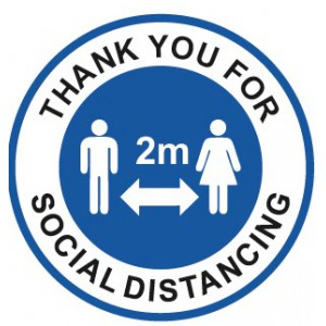 Image for 280mm - Non Slip Floor Sticker - Thank You For Social Distancing