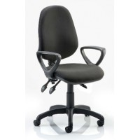 Image for  3 Lever High back Operators chair/ Black Fabric / with fixed loop arms
