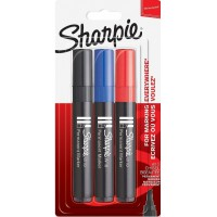Image for Sharpie W10 Permanent Markers, Chisel Tip - Assorted Colours, Pack of 3