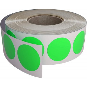 Image for 38mm Labels on Roll Round Diameter 38mm Flourscent Green (1000 per Roll )