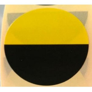 Image for 38mm Labels on Roll Round Diameter 38mm Black an Yellow (1000 per Roll )