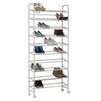 Image for 10 Tier Rolling Shoe Rack - White