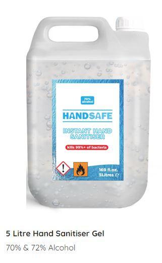 5 Litre Gel Hand Sanitiser (70% Alcohol)