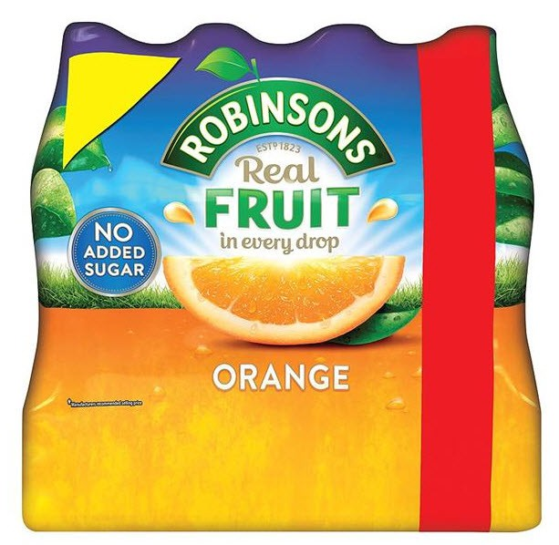 Robinsons Orange No Added Sugar 6x1Ltr
