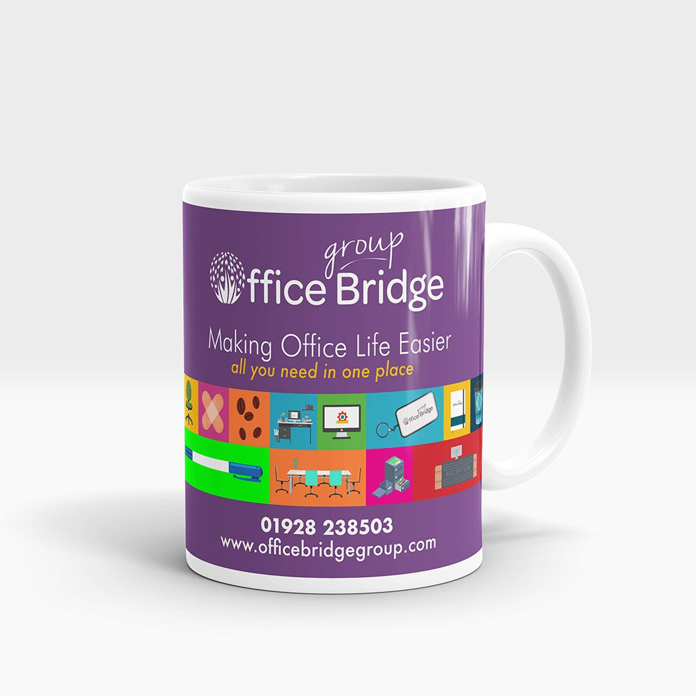 Branded Mug - Create your own design for printing on this mug, with no minimum order qty and a full colour print