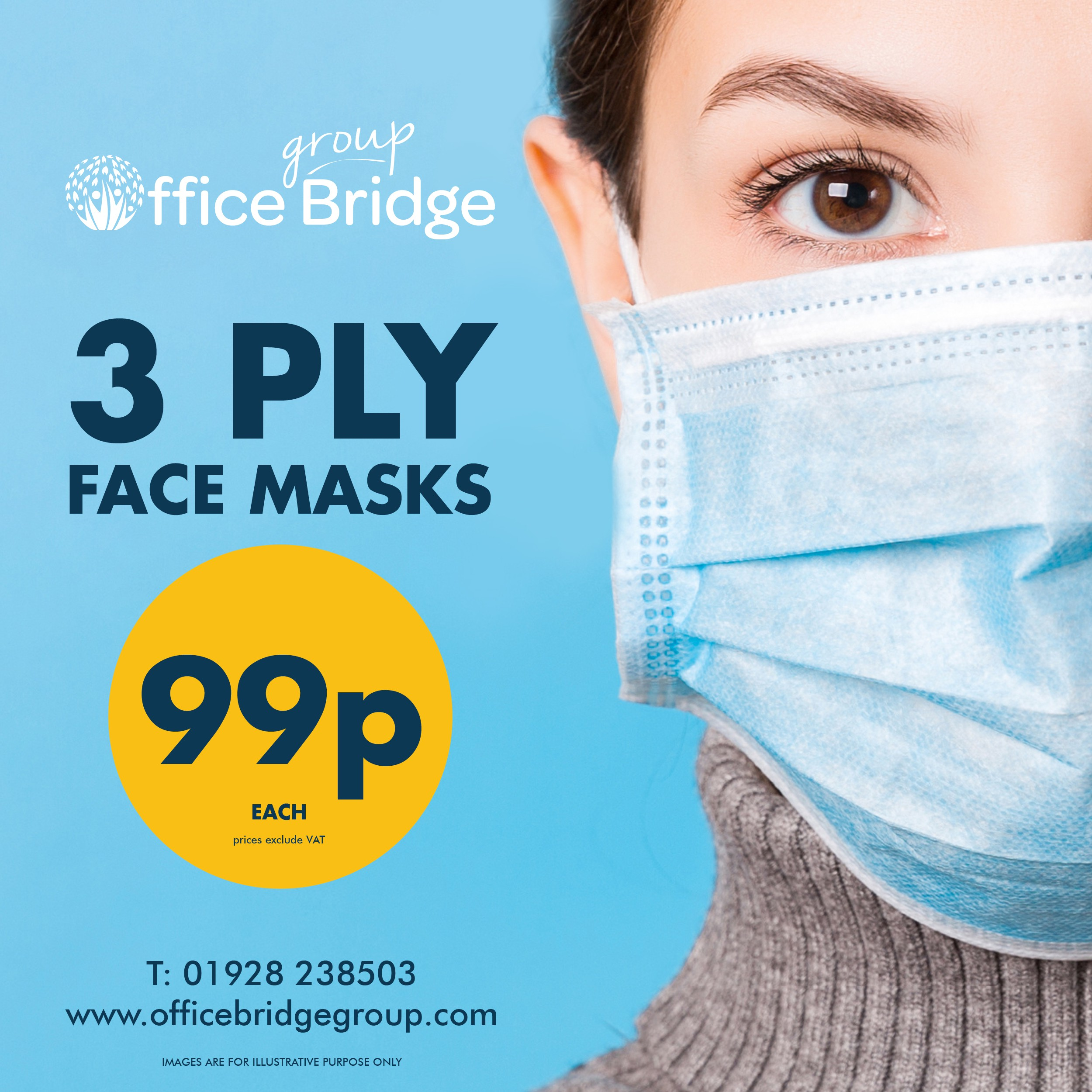 Pack of 50 3ply Surgical Face Masks