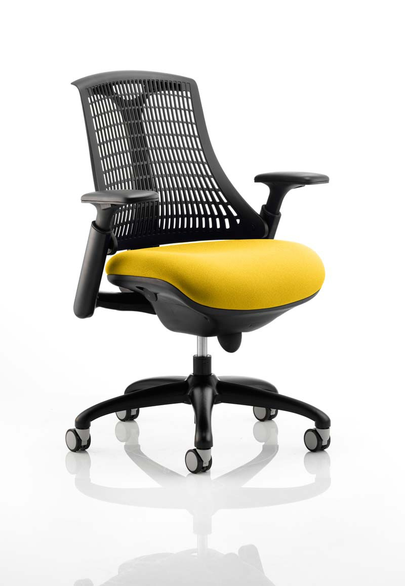 Flex Task Operator Chair with Adjustable Arms & Black Frame - Black Mesh Back with Senna Yellow Fabric Seat