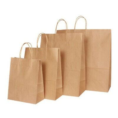 320mm Twisted Handle Paper Carrier Bags 100gsm Brown ribbet kraft paper bags Pk 50