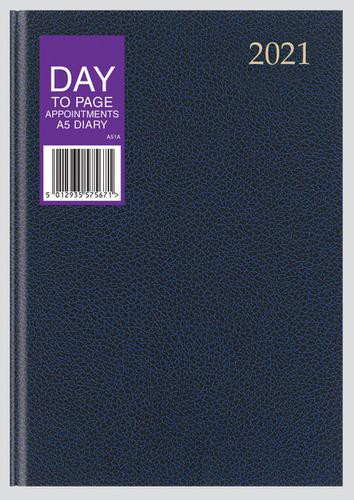 2021 Day to Page A5 Appointment Diary Assorted Colours, 1/2 hr appointments