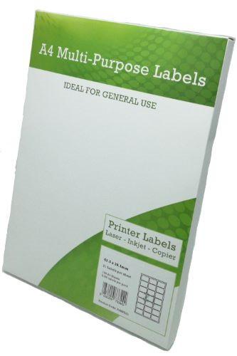 A4 Multipurpose Labels 21 per sheet 63.5mm x 38mm Pack 100