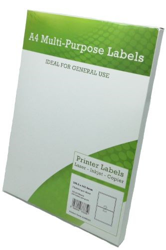 A4 Multipurpose Labels 2 per sheet 199.6mm x 143.5mm Pack 100