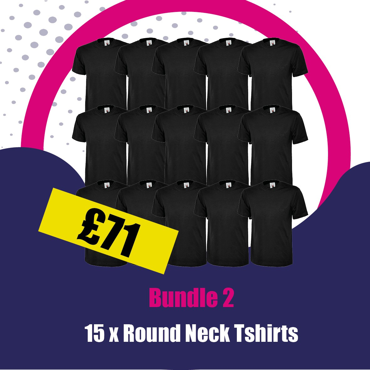 15 X Round Neck Tshirts with printed logo to Left Breast