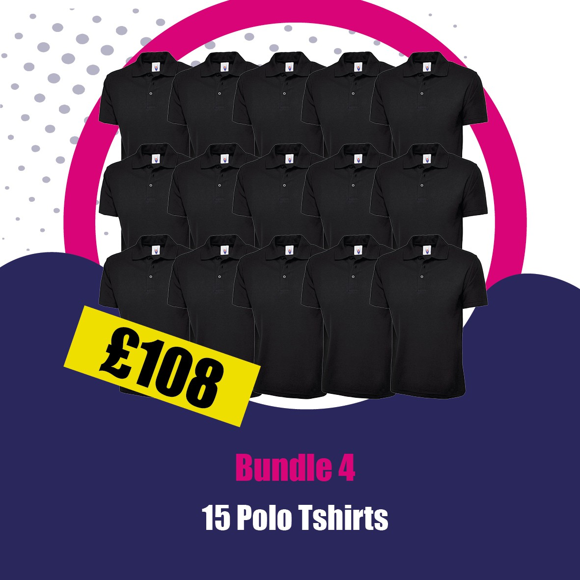 15 X Polo Shirts Printed to Left Breast