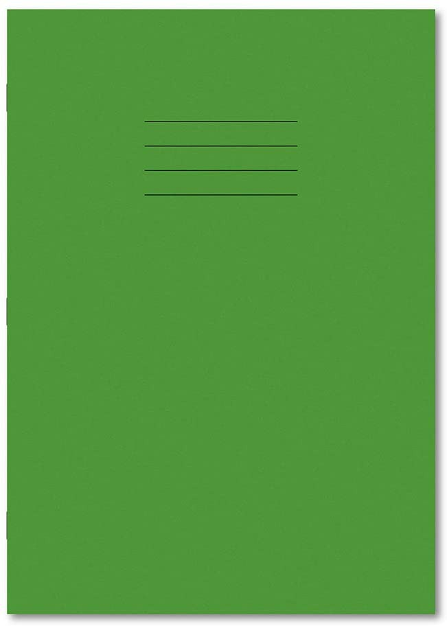 Personalised A4 48 Page 8mm Ruled & Margin Light Green Exercise Books Pack 100