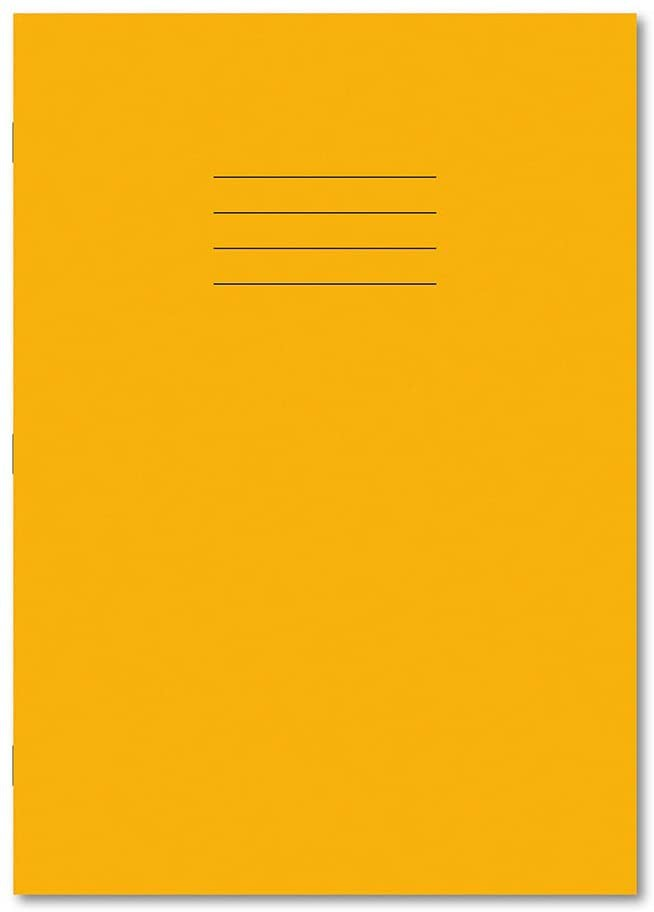 Personalised 229 x 178mm 80 Page 8mm Ruled & Margin Yellow Exercise Books Pack 100