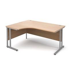 Maestro 25 SL left hand ergonomic desk 1600mm - silver cantilever frame, beech top