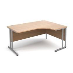 Maestro 25 SL right hand ergonomic desk 1600mm - silver cantilever frame, beech top