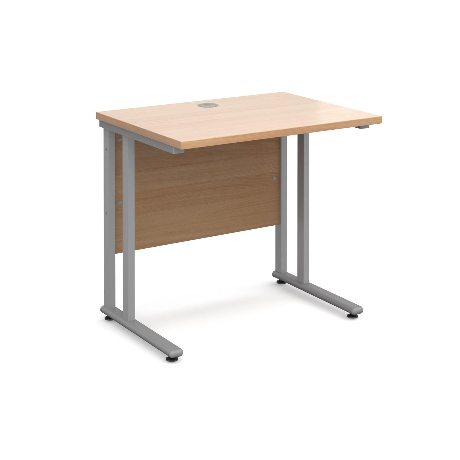 CALEY Beech 800 x 600 Straight Desk Silver Cantilever Frame | The ...