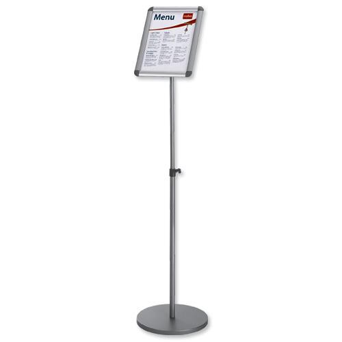 Nobo Clip Frame Display Stand for A4 Documents Adjustable Height 950-1470mm Silver Grey Ref 1902383
