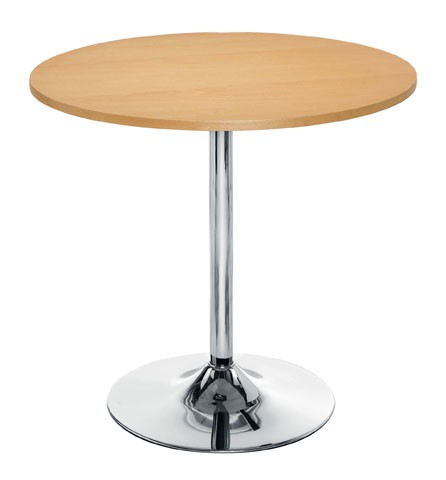 ELLIPSE 800MM ROUND TABLE CHROME TRUMPET BASE 740H BEECH