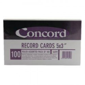 Concord Record Card 5x3in Assorted Pk100