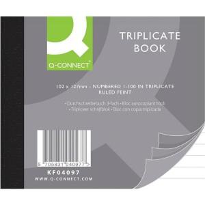 Q-Connect Triplicate Book 4x5in Ruled