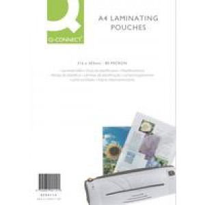 *Q Connect Laminating Pouches A4 125micron Pack of 100 KF04116 (906098) (M3) (008881)