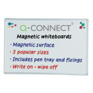 *Q Connect Magnetic Dry Wipe Whiteboard 900x600mm KF01079 (424119)