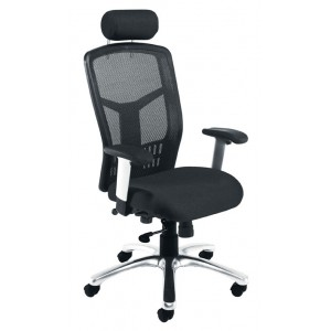 FONZ HIGH BACK OPERATORS CHAIR BLACK MESH BACK  BLACK LEATHER HEADREST SILVER BASE SILVER/BLACK HEI