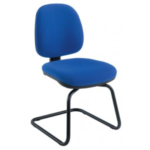 VISITOR CHAIR HIGH BACK BLACK FRAME CHARCOAL FABRIC