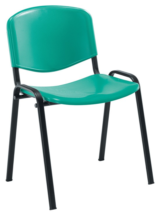 CLUB CANTEEN POLYPROPYLENE STACKING CHAIR BLACK FRAME STACKS UP TO 8 HIGH BLACK
