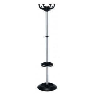 CLUSTER COATSTAND WITH UMBRELLA HOLDER Silver/Black