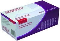 Shield Powder-Free Latex Gloves Blue Small Pack of 100 GD40