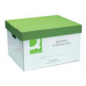 *Q Connect Business Storage Boxes Banking 335x400x250mm White and Green (PR1A)