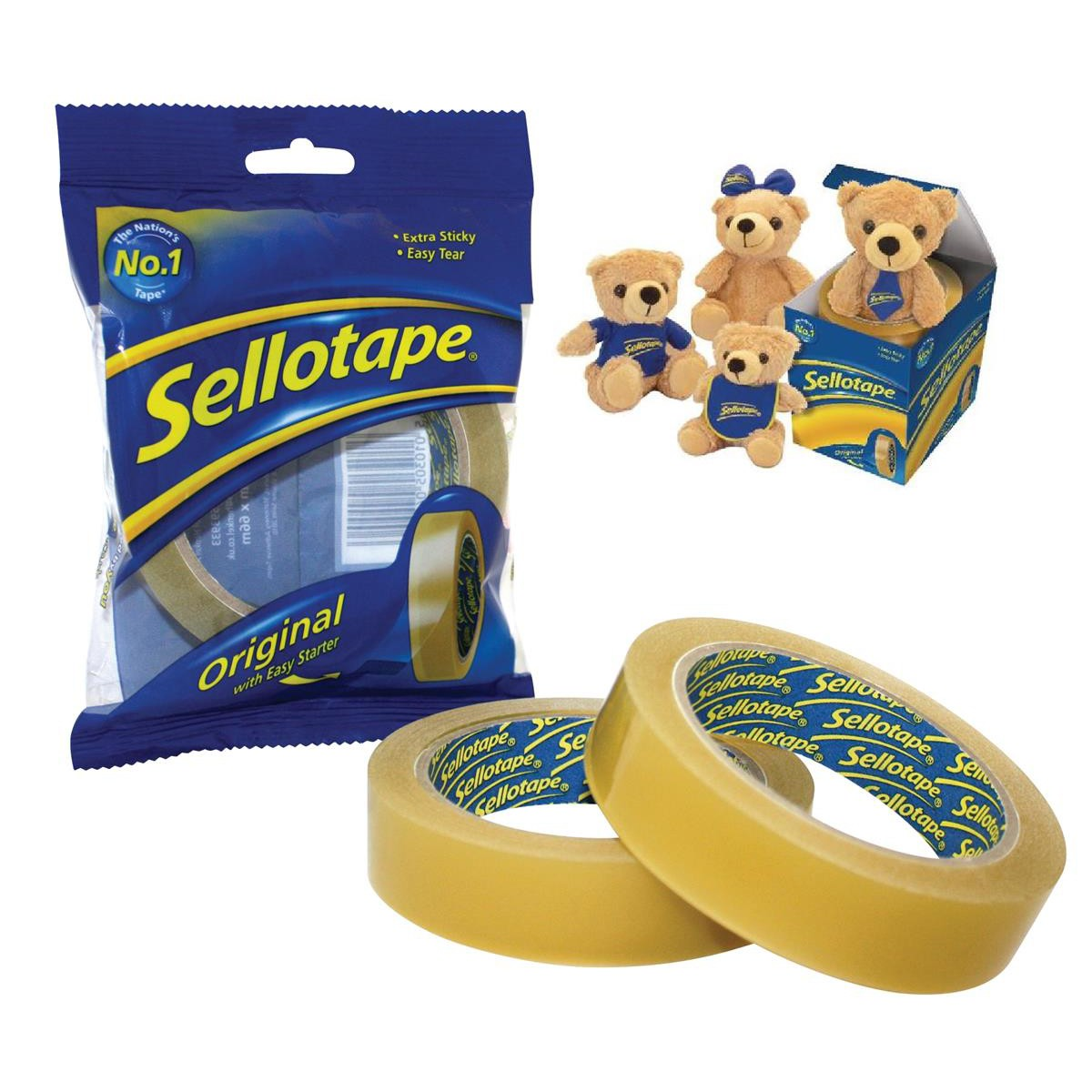 Sellotape 24mm x 66m Golden Tape Pk6 + FREE Sellotape Teddy Bear