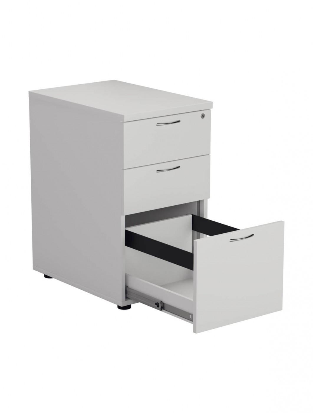 White - Essentials Desk High Pedestal 3 Draw