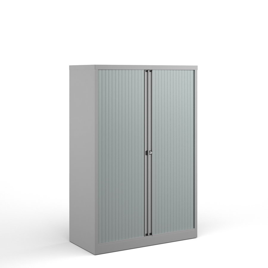 Bisley systems storage medium tambour cupboard 1570mm high - goose grey  Supplied Empty