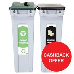 Rubbermaid Slim Jim 2 Stream Recycling Starter Pack Ref 1876489 [Cashback Offer] Jan-Mar 2017
