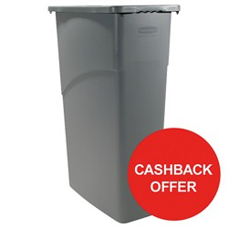 Rubbermaid Slim Jim Recycling Container Bin 60 Litres Grey Ref 3541-00-GRY [Cashback Offer] Jan-Mar 2017