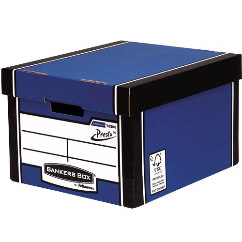 Bankers Premium Classic Storage Box Blu/WhtBOGOFJan1/17 PRESTO™ instant pop-up assembly boxes Double end, sides and base giving you maximum stacking strength DIMENSIONS W330 x H254 x D381mm