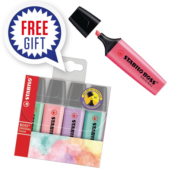 STABILO BOSS Original Highlighter Pink (Pack of 10) with Free Pastel Highlighters