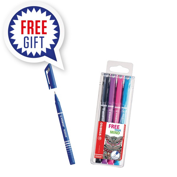 STABILO SENSOR Fineliner Pen Blue (Pack of 10) with Free Assorted Fineliners