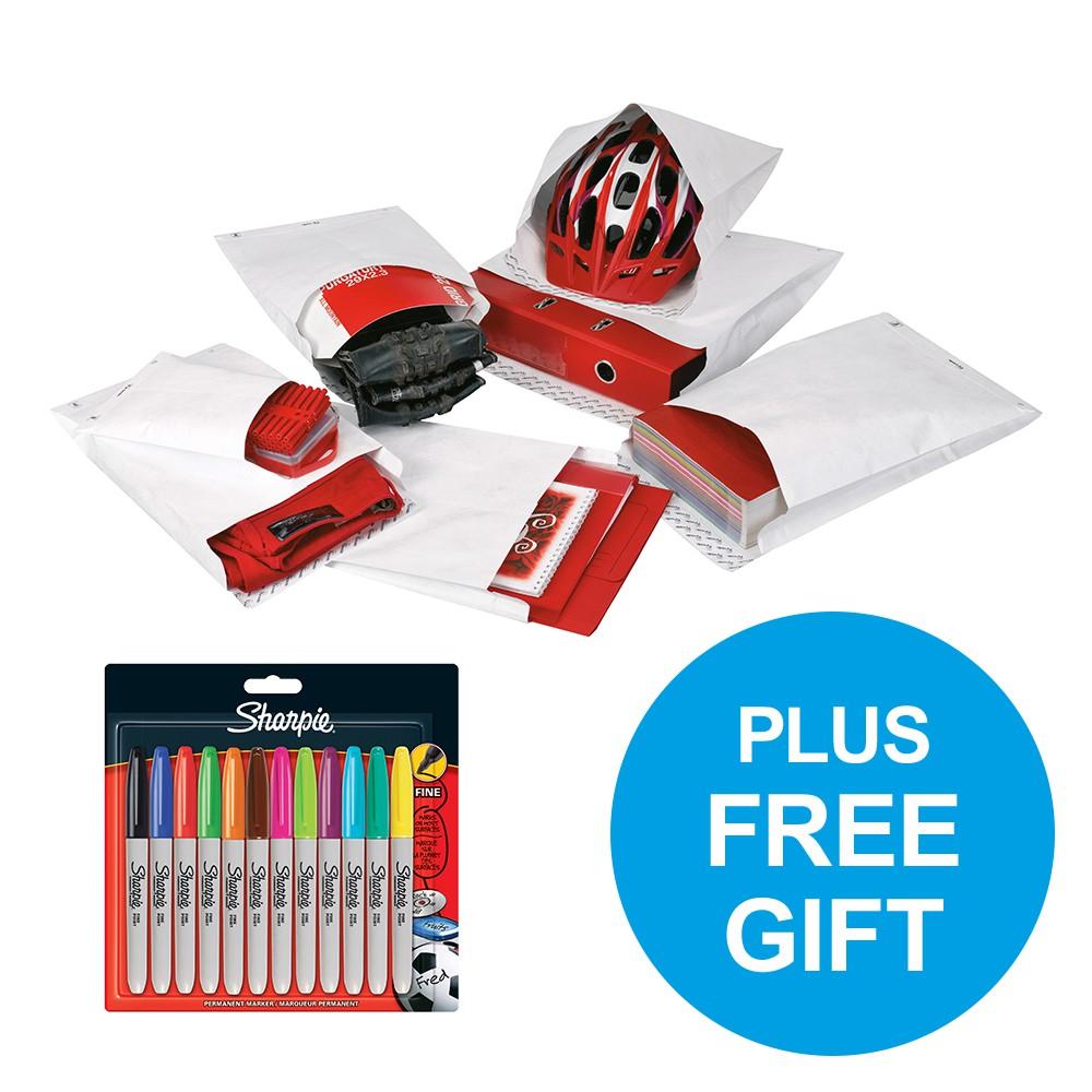 Tyvek Gusseted Envelopes Strong C4 55gsm P&S White Pk100 FREE Sharpie Marker Pens