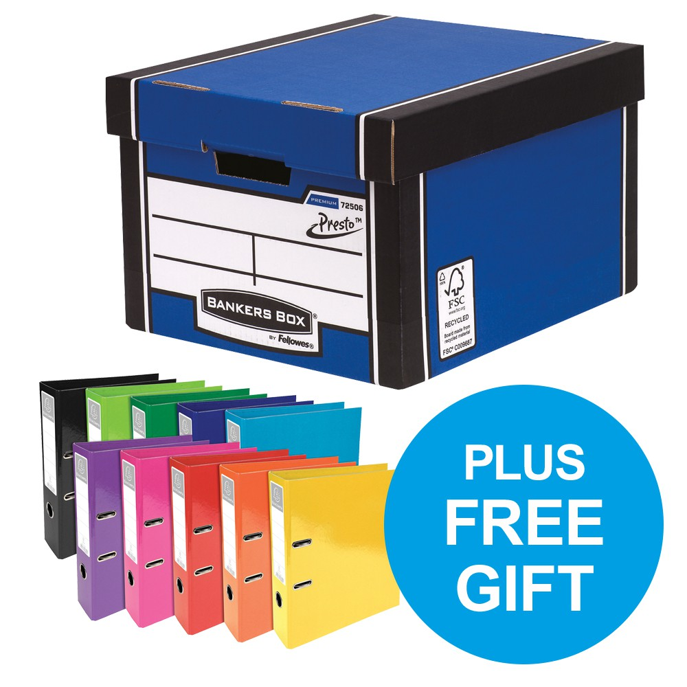 Bankers Box Premium Blue Boxes Buy 2 Packs12 & FREE Lever Arch Files Pk10