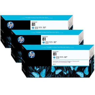 HP 81 Light Cyan Dye Ink Pk3 C5070A