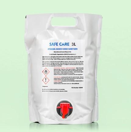 Safe Care Hand Sanitising liquid 3 Litre Bag, Convenient Tap Dispenser, 80% Alcohol (Each)